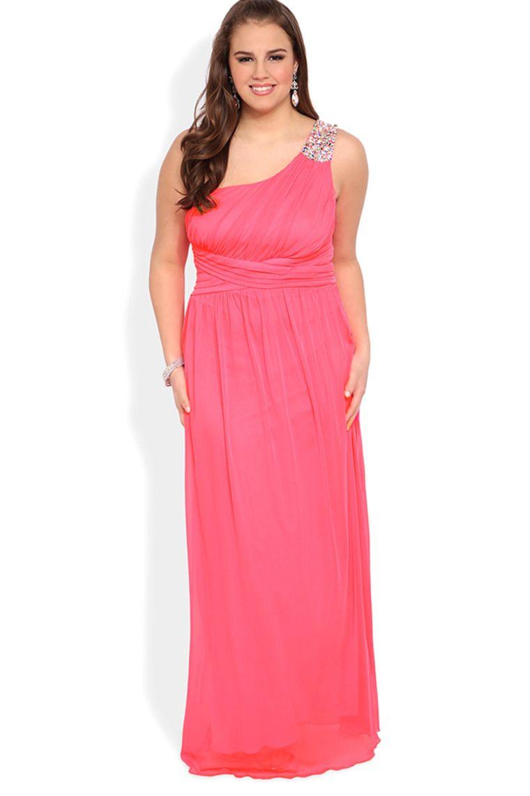 Elizabeth K Ruched Bodice Plus Prom Dress - PromGirl