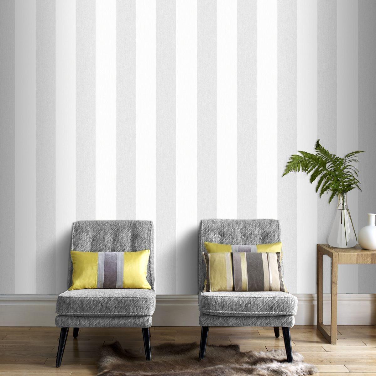 Papier Peint A Rayure Gris Et Blanc papier peint calico - taille : taille unique | papier peint