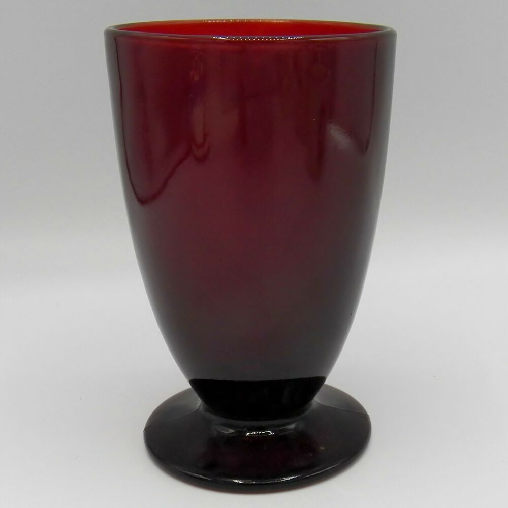 Anchor hocking royal ruby iced tea footed tumbler 12oz red