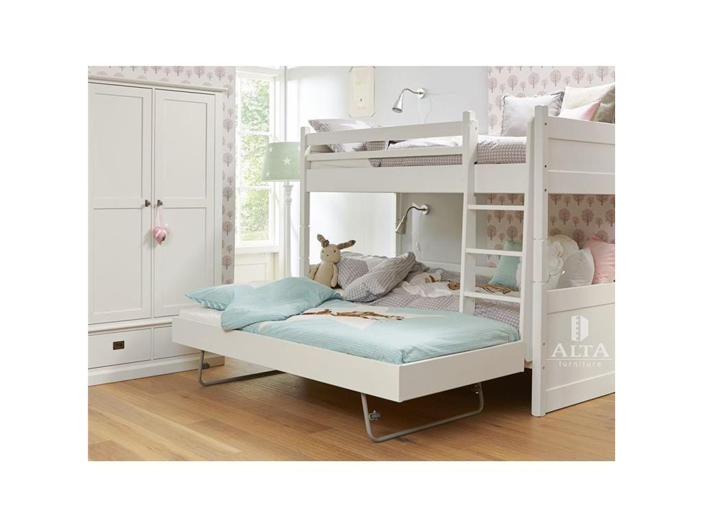 Relita Etagenbett Wicky Weiss : Etagenbett mit gerader leiter und gästebett snow white cm