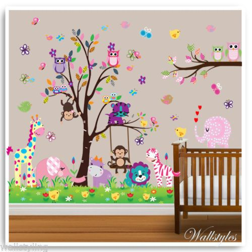 Owl animal wall stickers monkey zoo jungle tree nursery baby room decal mural in home