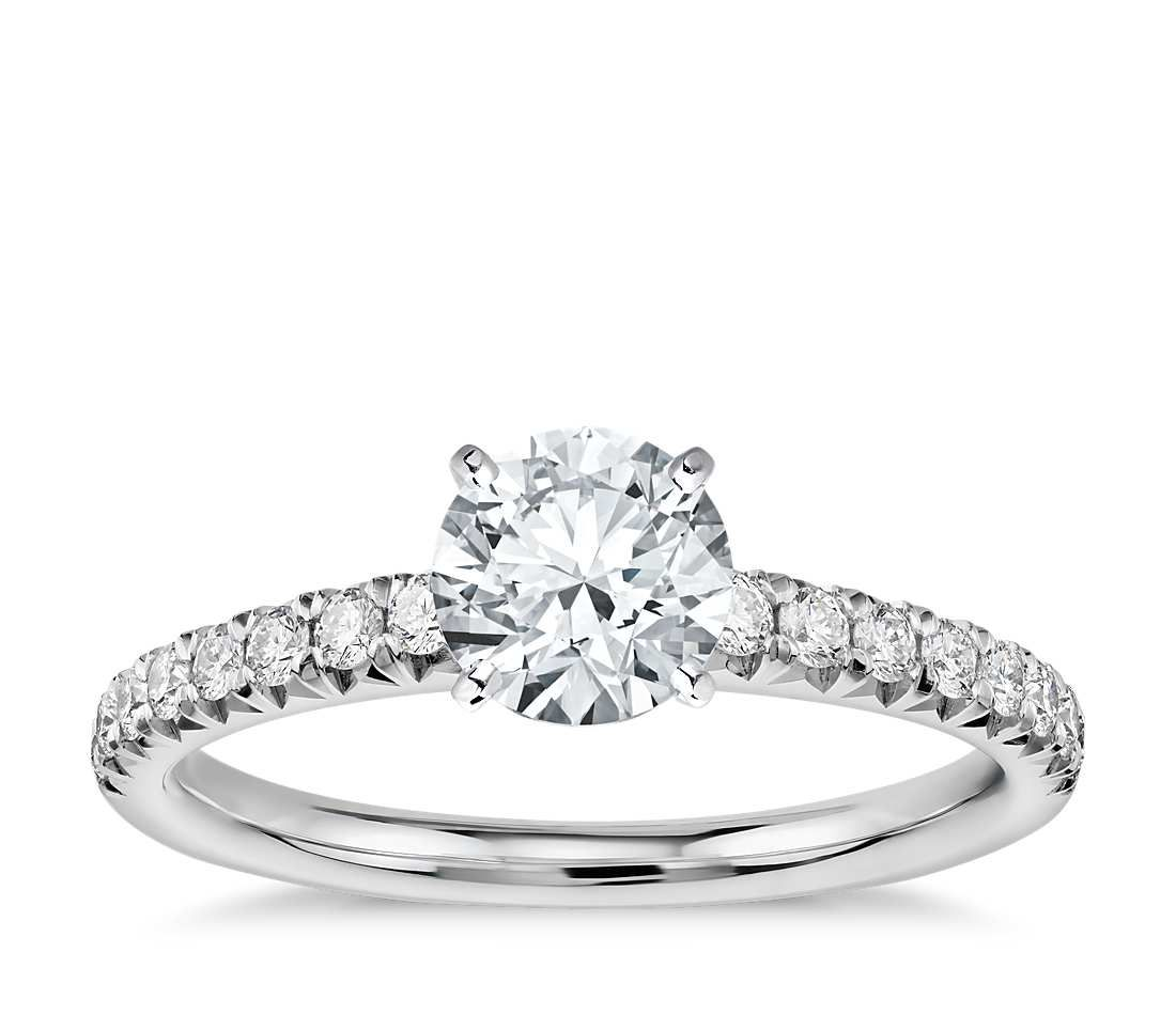 French pavé diamond engagement ring in platinum ct tw