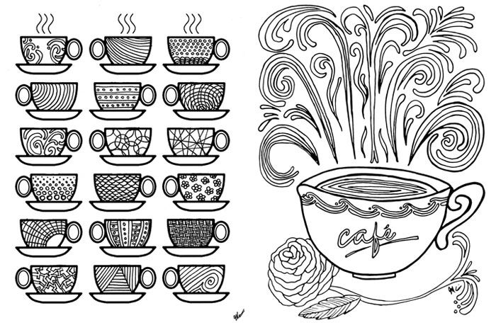 free printable coffee coloring pages