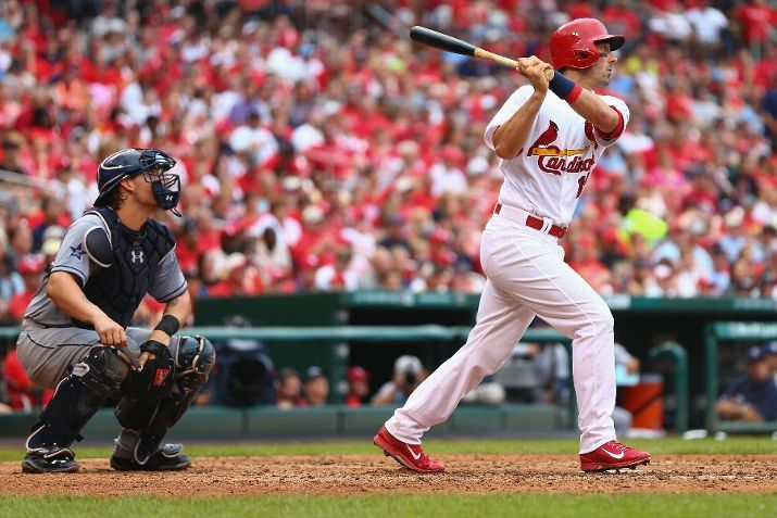 Matt Carpenter hits a two RBI double against the Padres in the sixth inning. Cards won the game 7-6.  8-17-14