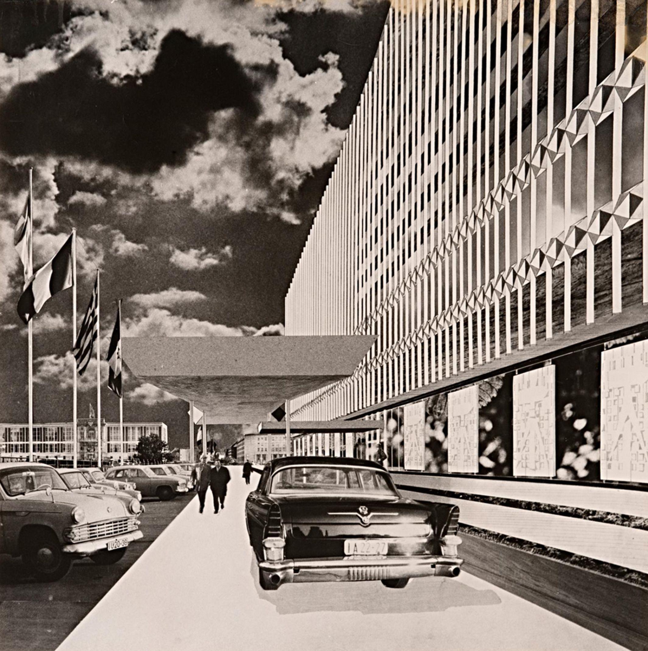 Dieter Urbach collage: Ministerium für Auswärtige Angelegenheiten der DDR, Architekt Josef Kaiser, Bildmontage 1967