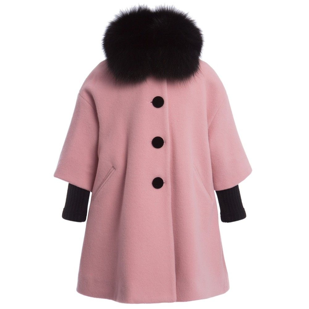 Quis Quis Girls Pink Swing Coat with Fur Collar at Childrensalon ...