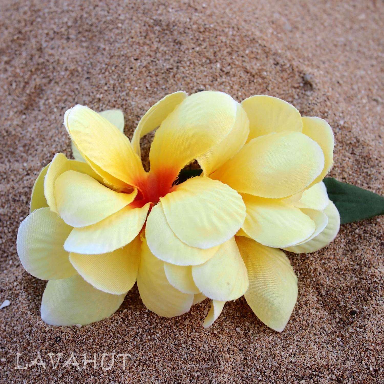 Plumeria Yellow Hawaiian Flower Hair Clip Hawaiian Flower Hair