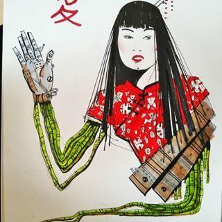 #graphic #illustrated #cyborg #art #picture #sketch #cyberpunk #steampunk #red #electric #women #girl #hi #future #futurism #surrealism