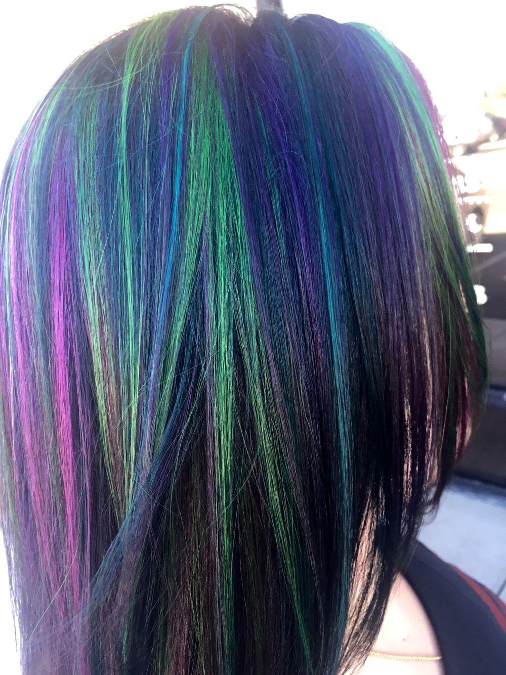 Multi Colored Highlights Green Highlights Hot Pink Highlights Purple Highlights Blue Highlights Dark Brown Peacock Hair Color Lemon Hair Dark Purple Hair