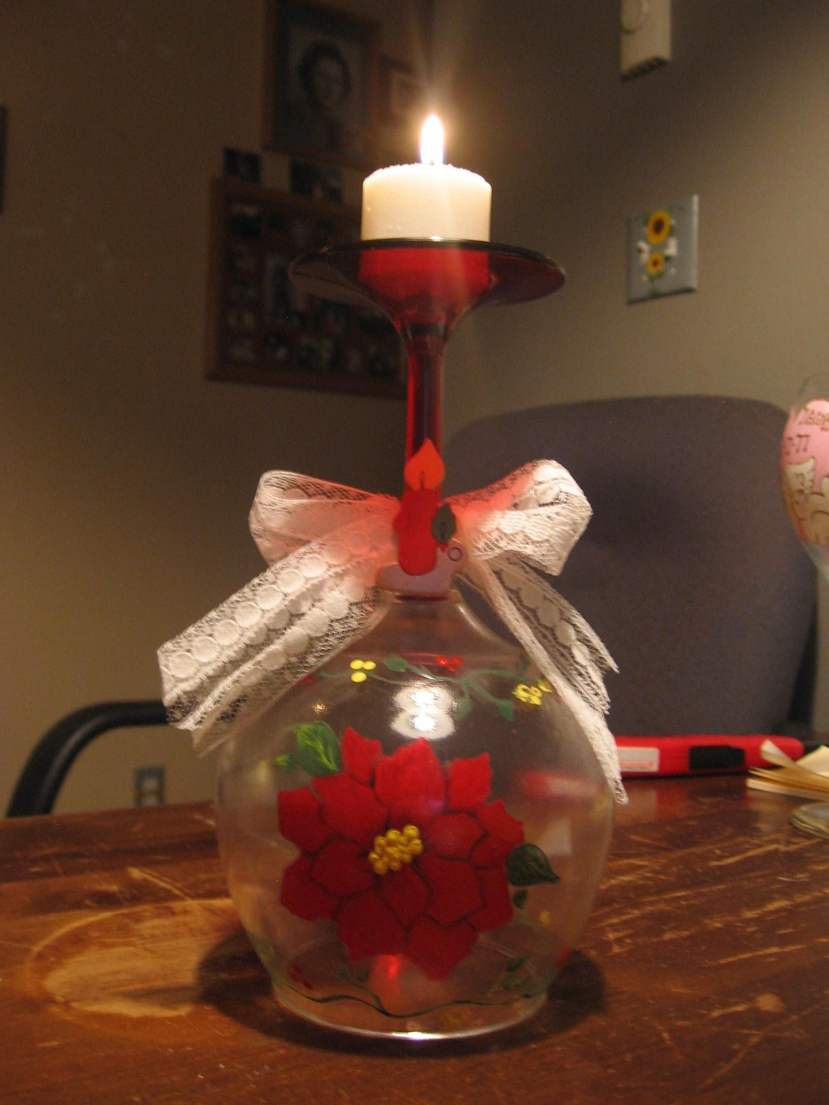 Painted Wine Glass Christmas Centerpieces Diy Christmas Wine Glasses Bottle Crafts