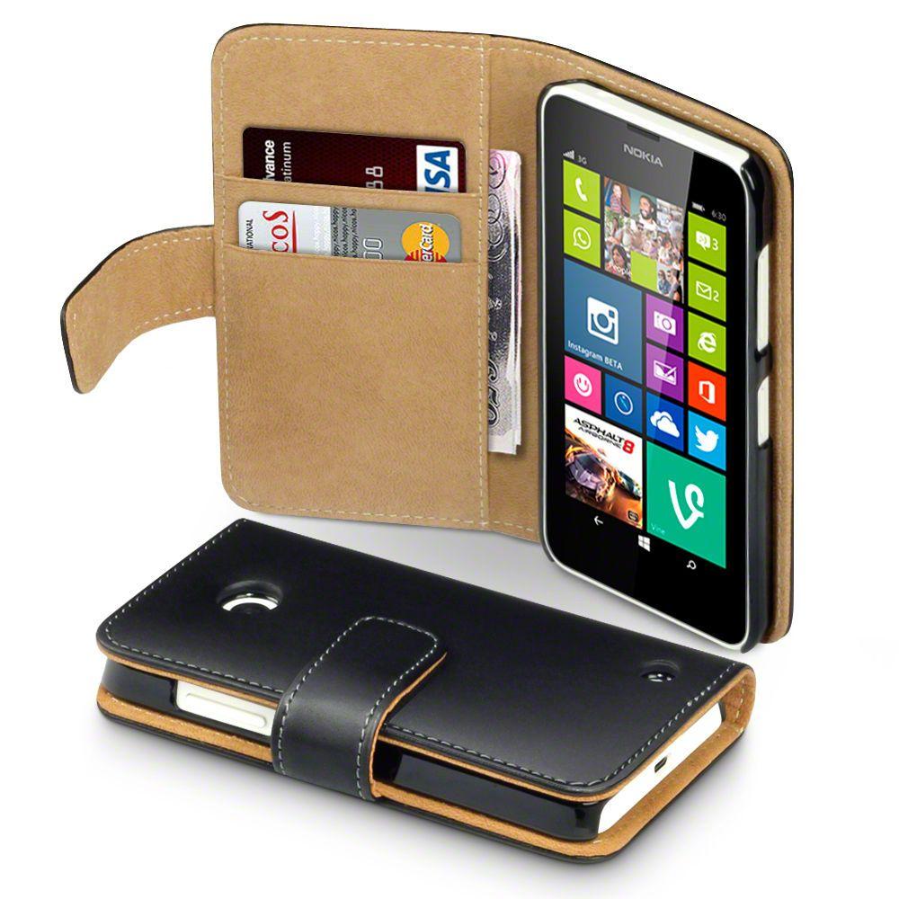 Premium leather wallet case for nokia lumia 630635 black
