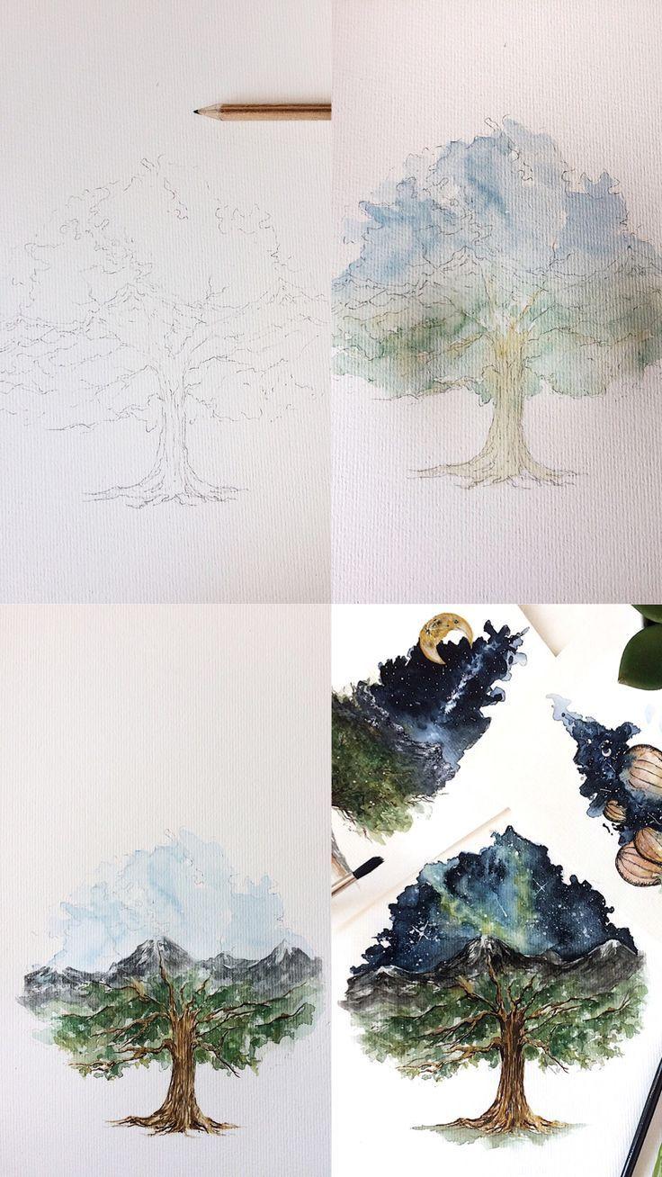 Aquarell Eiche Tutorial Aquarell Baumbilder Baume Zeichnen