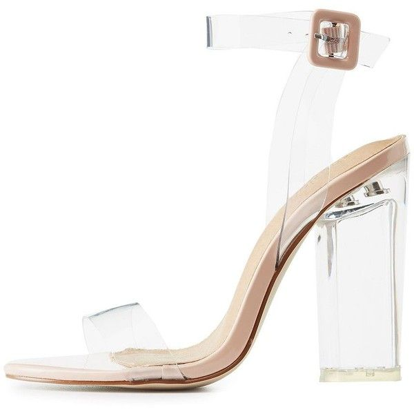 11d69d77f9e Charlotte Russe Clear Strap Lucite Heel Sandals ($31) ❤ liked on ...