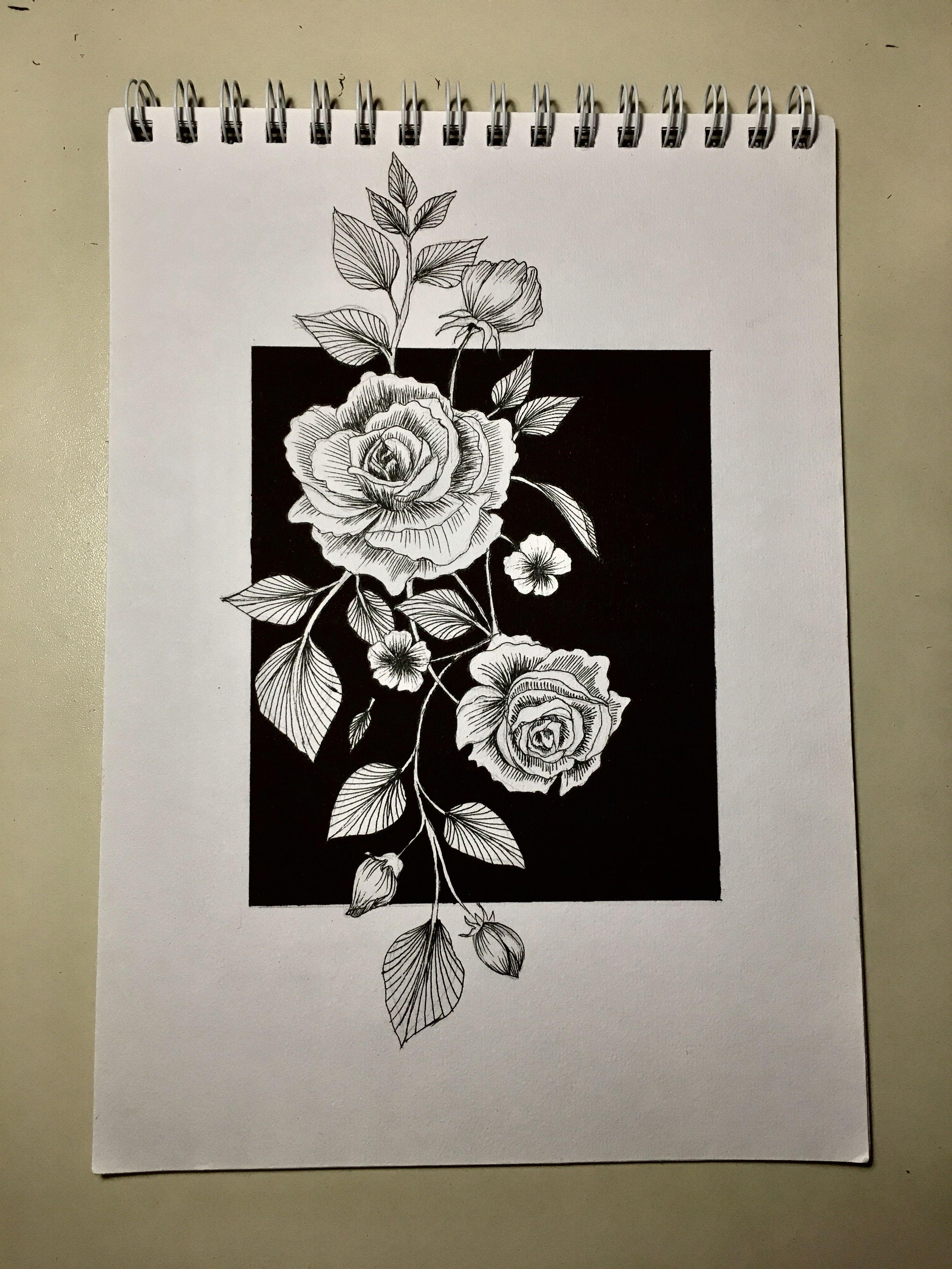 Flowerdrawingdrawrosetattooblackwhiteminimal zeichnenmalen
