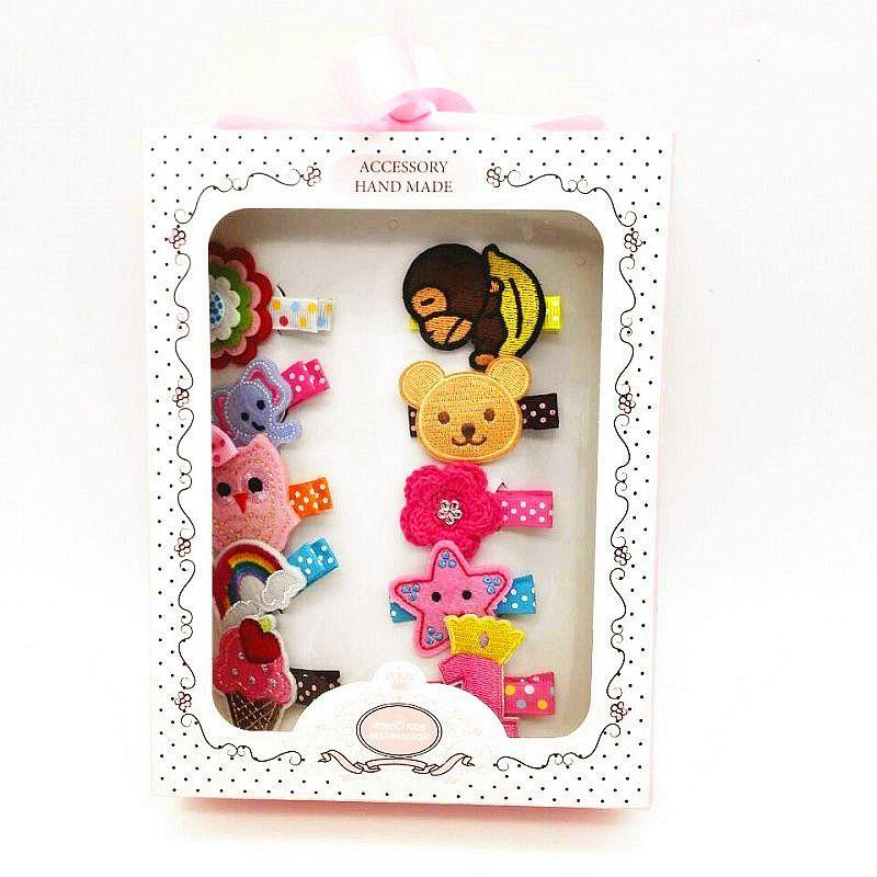 d319d8706896 28pcs KID hair Accessories Gift box 10pc Embroidered animial Hair Clip  10pcs bowknot hairpin barrette hair