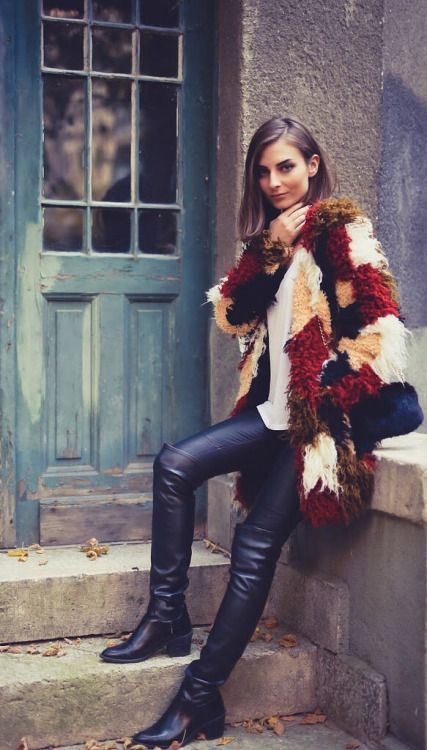 Parity Shop >>> brown leather over the knee boots with a