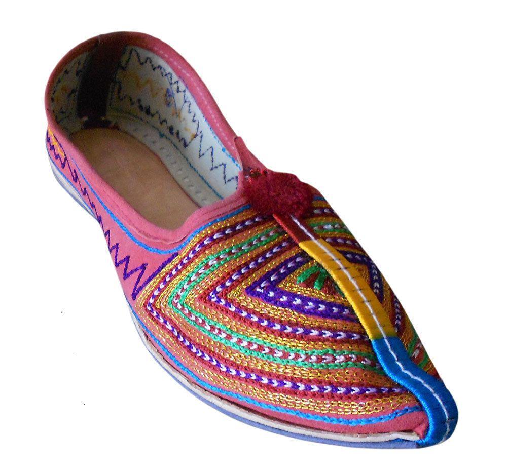 Kalra Creations Jutti Ethnic Leather Indian Women Shoes Handmade Mojari Flat