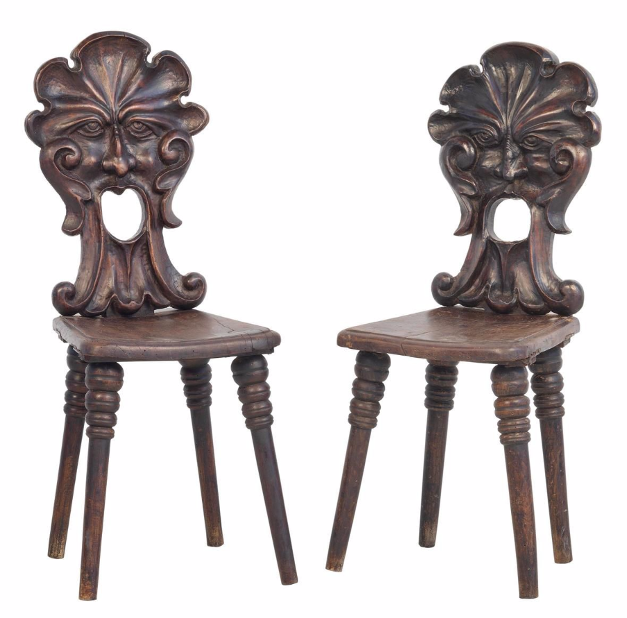 Northern Italian side chairs, late 18th or early 19th century, walnut,  carved backs. Man FacesDark FurnitureSide ... - Northern Italian Side Chairs, Late 18th Or Early 19th Century