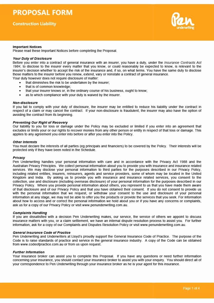 Bid Template For Contractors New 31 Construction Proposal Template