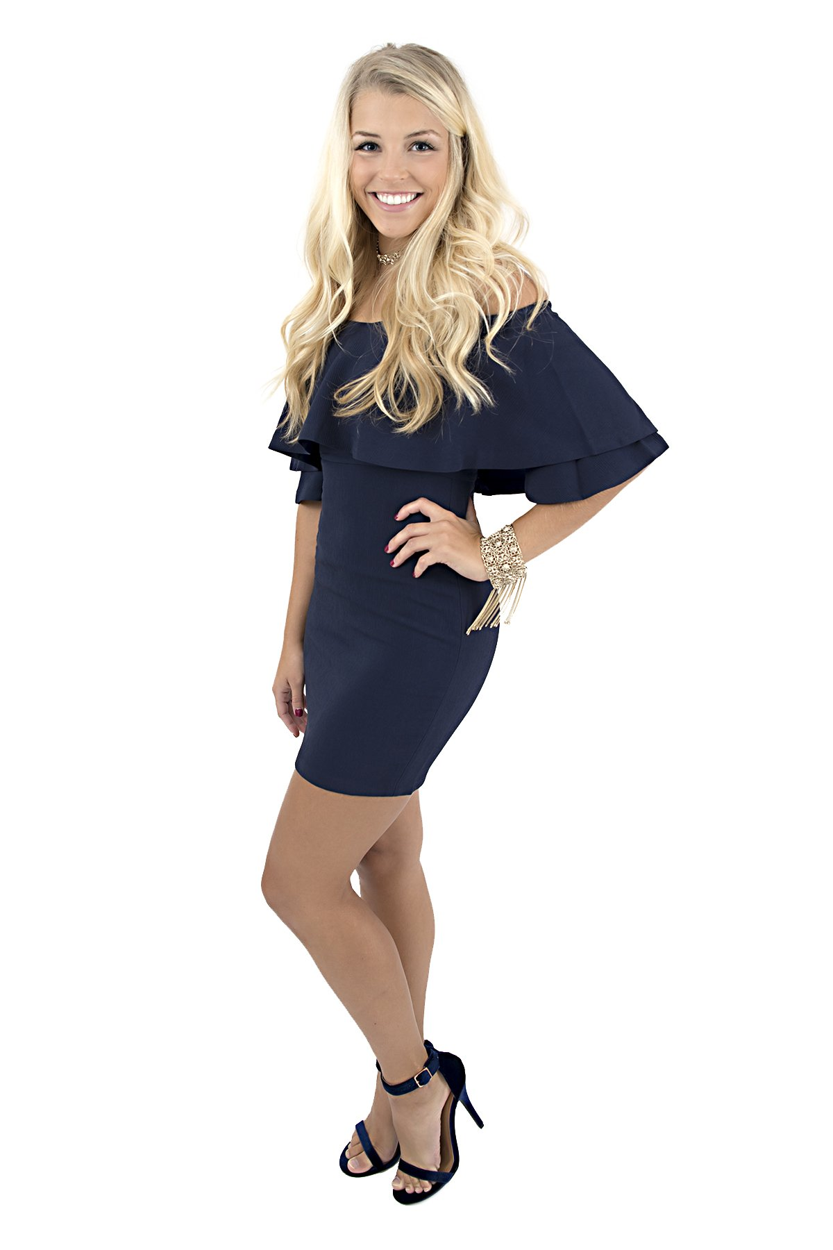 c5d1ca8c78a9 This dynamite mini dress is the perfect combination of trendy and classic!  Features a ruffle