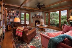 Craftsman Library with Ceiling fan, French doors, Exposed beam, Armstrong Flooring Oak Hardwood Flooring, Hardwood floors