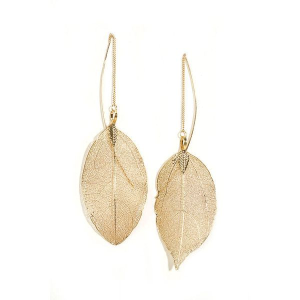 Leaf Bed Gold Leaf Threader Earrings (€13) ❤ liked on Polyvore featuring jewelry, earrings, accessories, brincos, gold, chain earrings, fake earrings, gold charms, threader earrings and long gold earrings