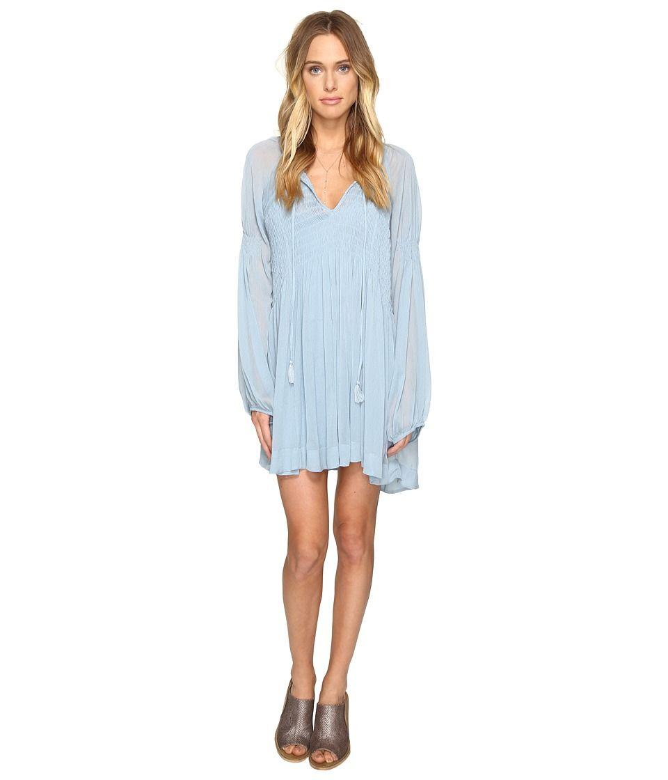 Free People Free People Lini Smocked Mini Dress Blue Women S Dress Freepeople Cloth Blue Dress Short Long Sleeve Chiffon Dress Womens Dresses [ 1120 x 960 Pixel ]
