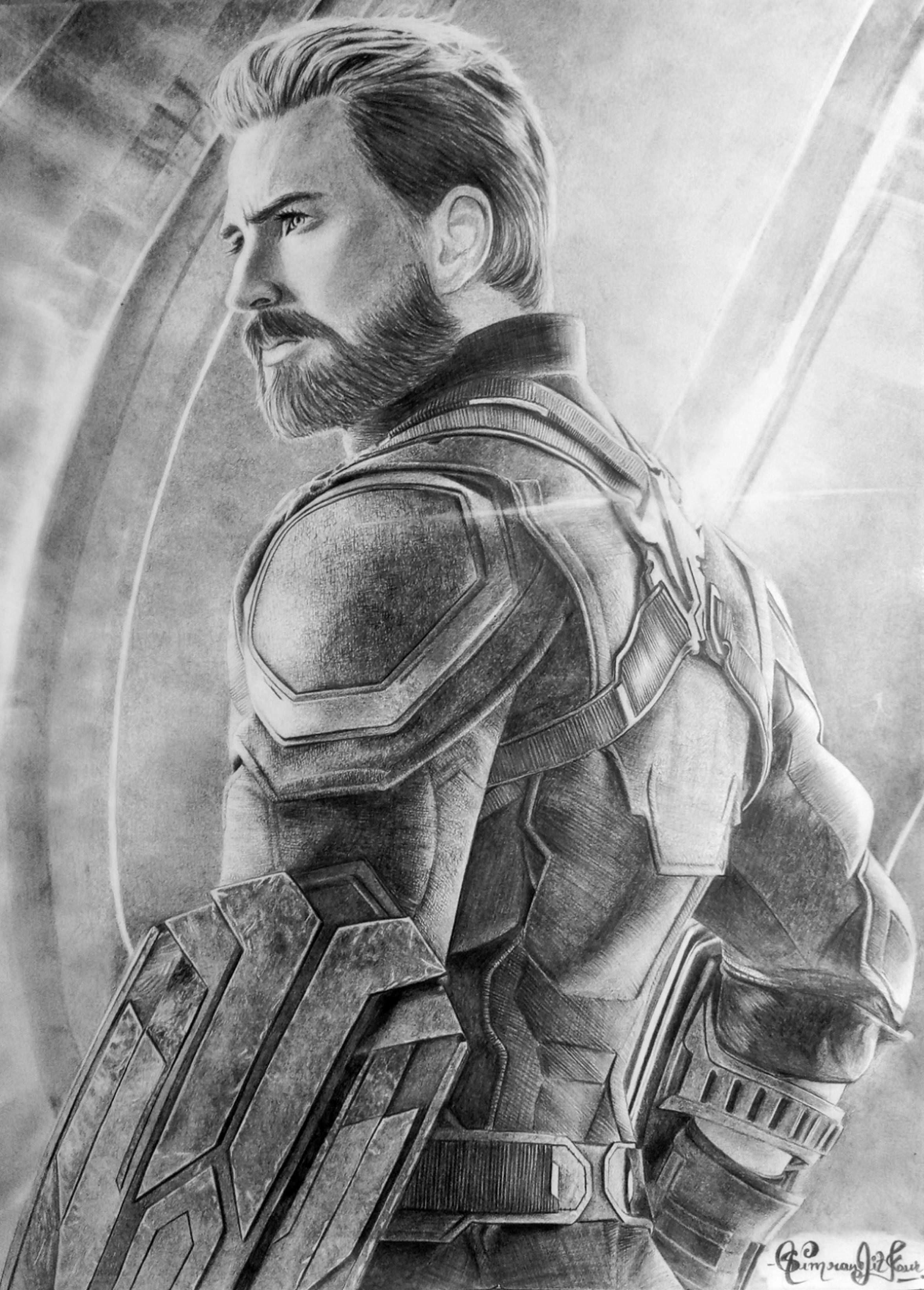 Chris Evans As Captain America Pencil Sketch Ig