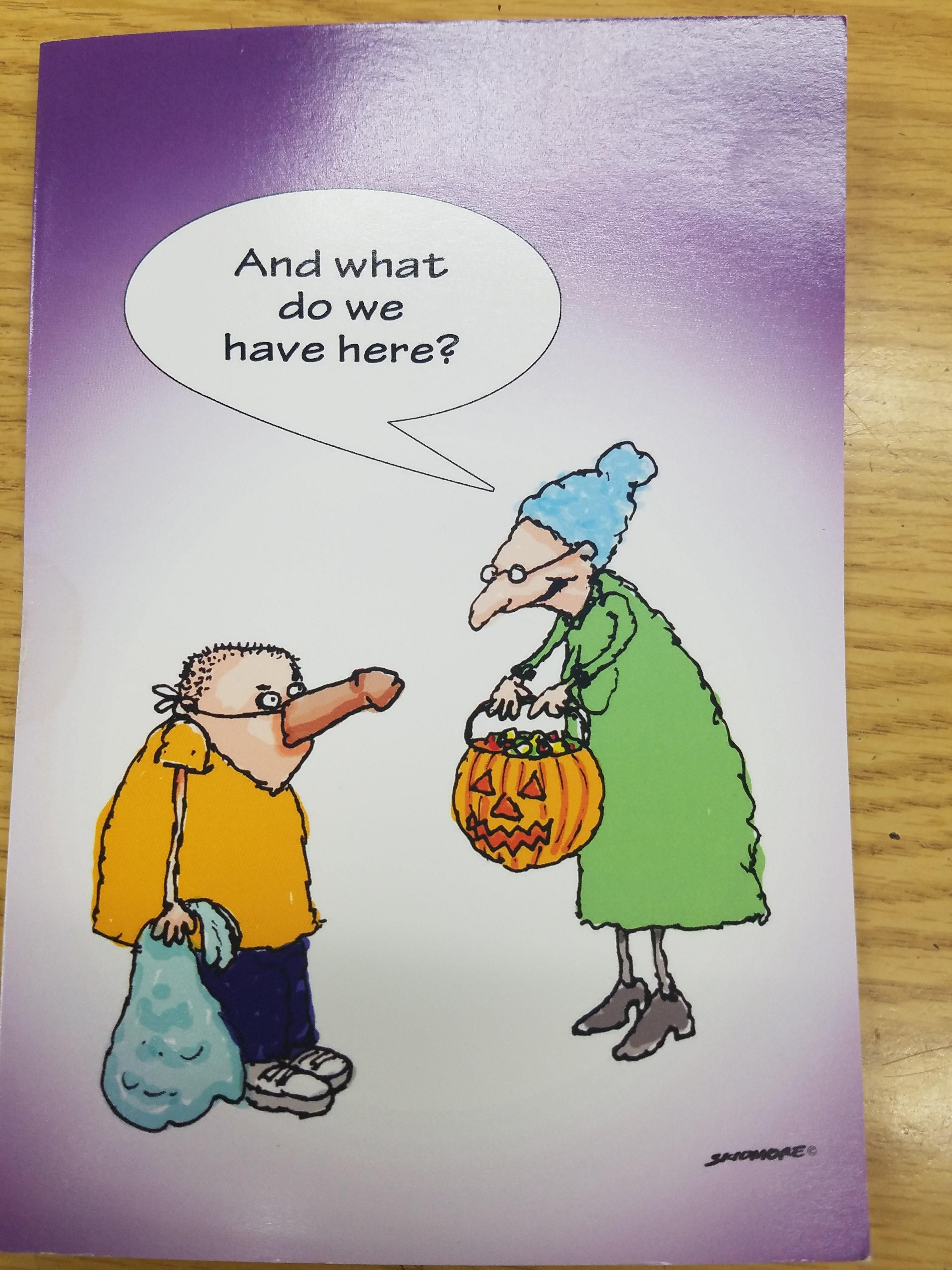 Humorous greeting card with a halloween flair with