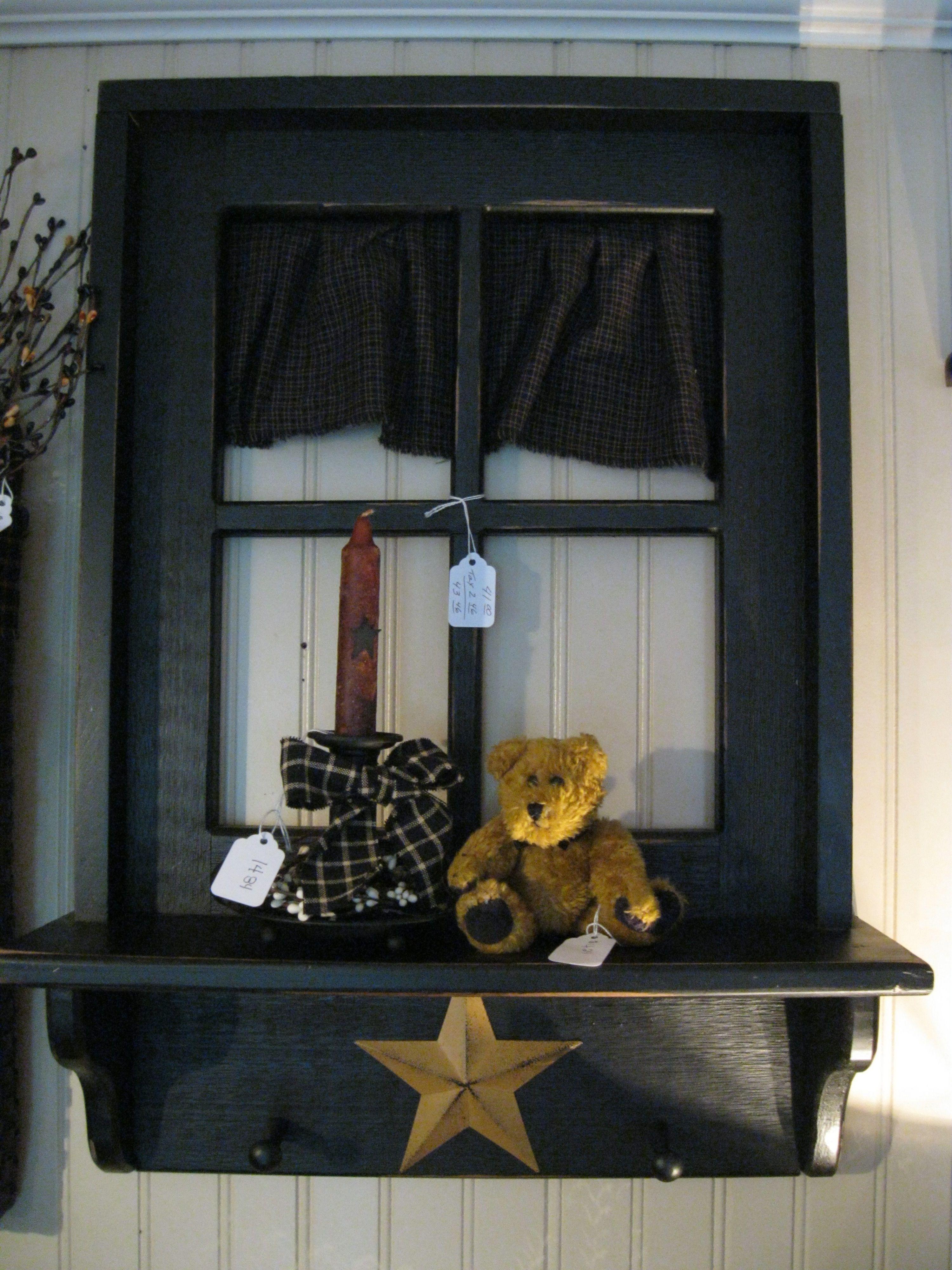 PRIMITIVE COUNTRY DECOR WINDOW PANE WITH BOX SHELFSITTER ...  Primitive Window Frame Decor