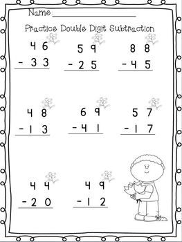 Double Digit Adding & Subtracting w/ NO regrouping Spring Printables ...
