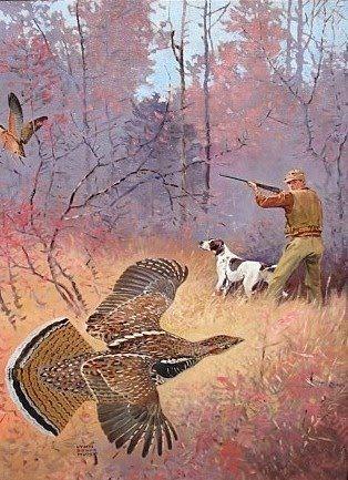 Hunting Quail in Corn Field Dog by Lynn Bogue Hunt