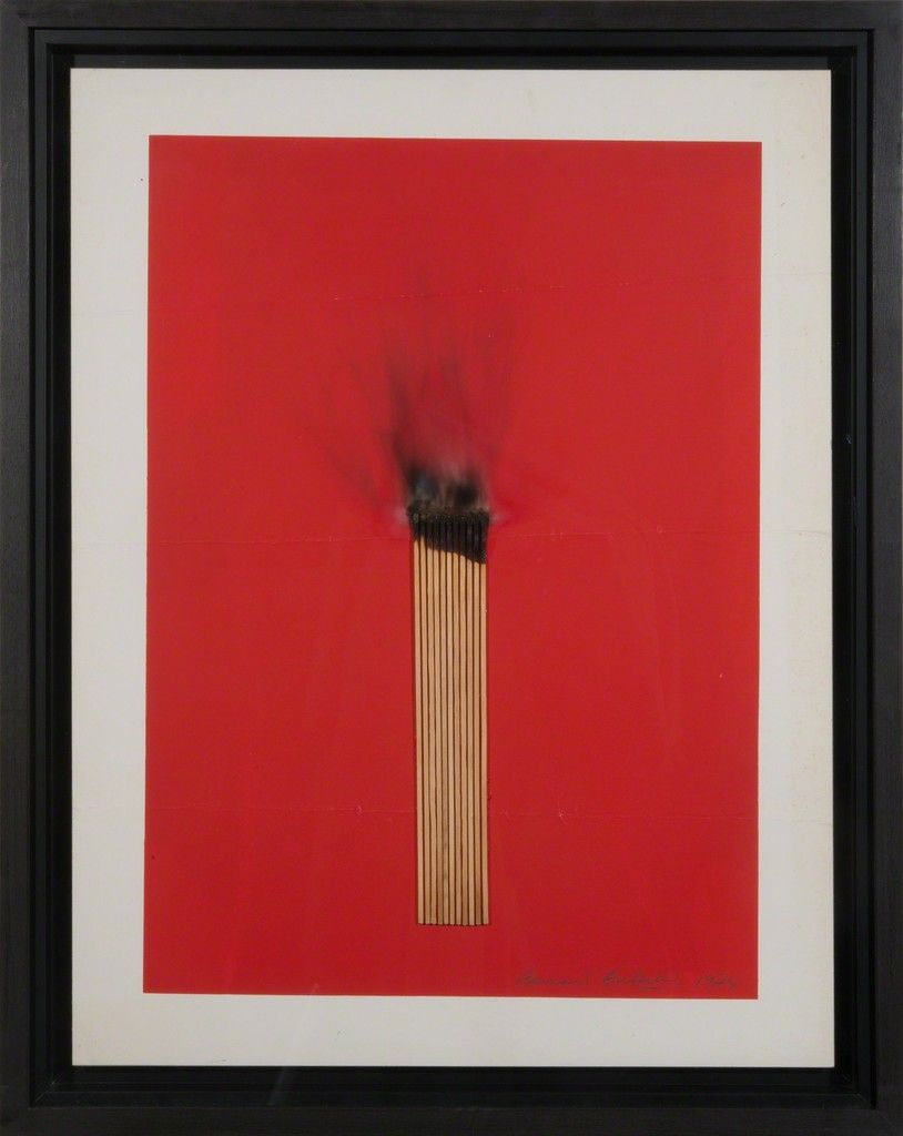Bernard Aubertin — Untitled,  1974. Mixed media: painting and collage, 77,5 x 61 cm.  • Minimalism • Abstraction • Red