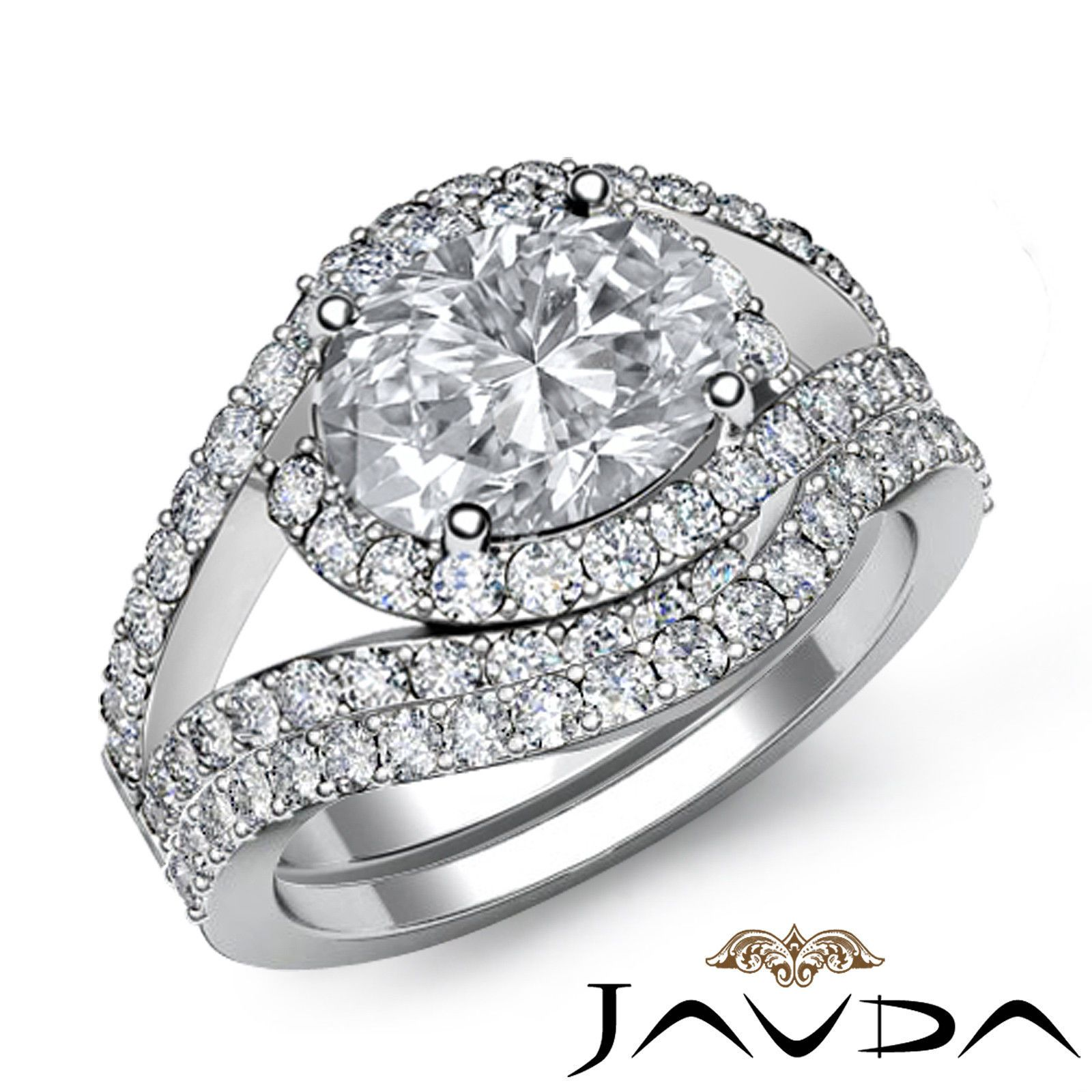Halo Oval Bridal Set Diamond Engagement Pave Ring GIA I VS2