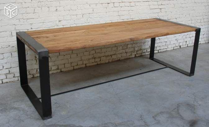 Table Metal Chene Industrielle Vintage Ameublement Nord Leboncoin Fr Giani Desmet