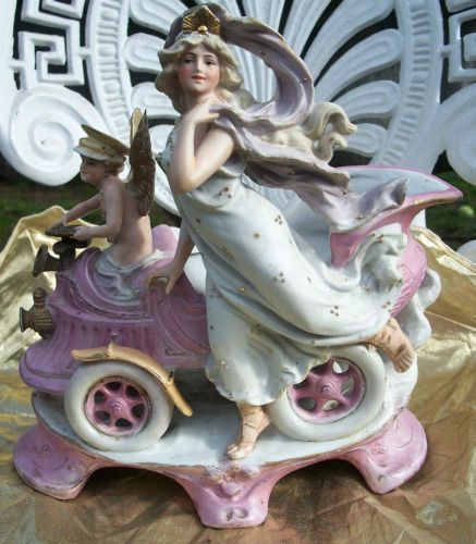 RARE-Antique-German-Victorian-Bisque-Cupid-Angel-Car-Art-Nouveau-Goddess-Vase