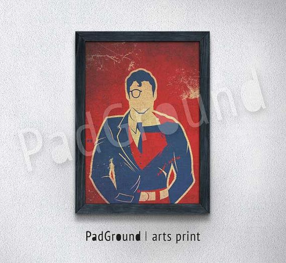 Superman Poster, Superhero, DC Comics, Canvas Print, Personalized Art Print, Cloth Art Print , Natural Linen Print Art with Frame -SP22