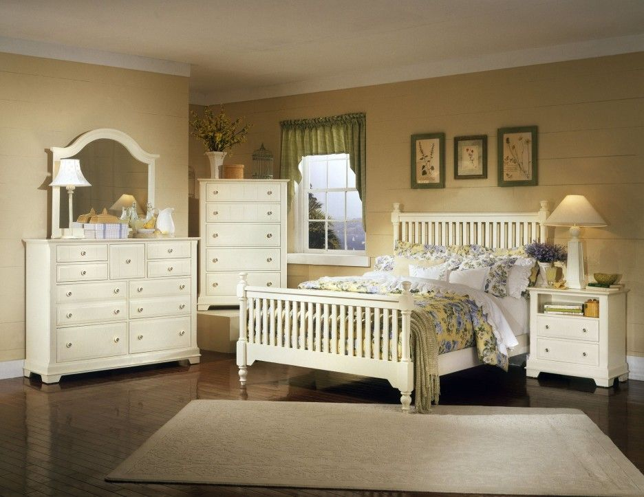 Bedroom. elegant white painted wooden furniture in light brown ...
