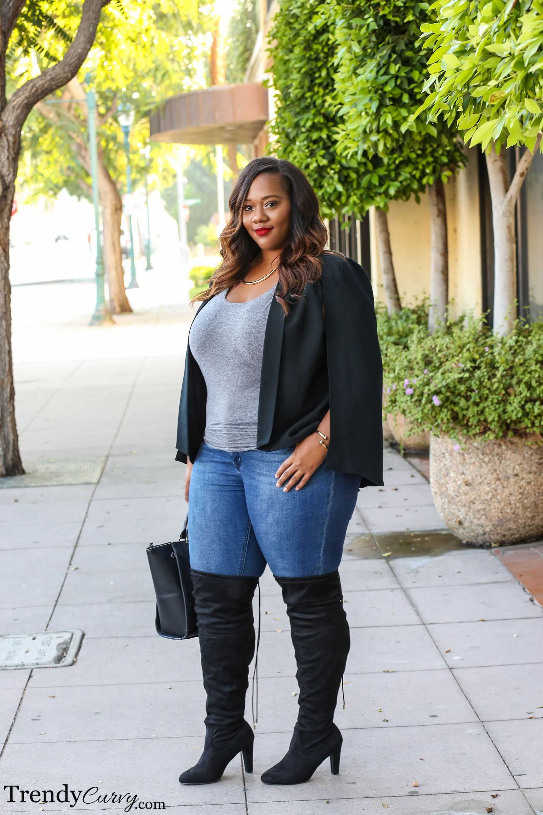 a142ef860 Over The Knee | Curvy Girls | Thigh high boots outfit, Plus size ...