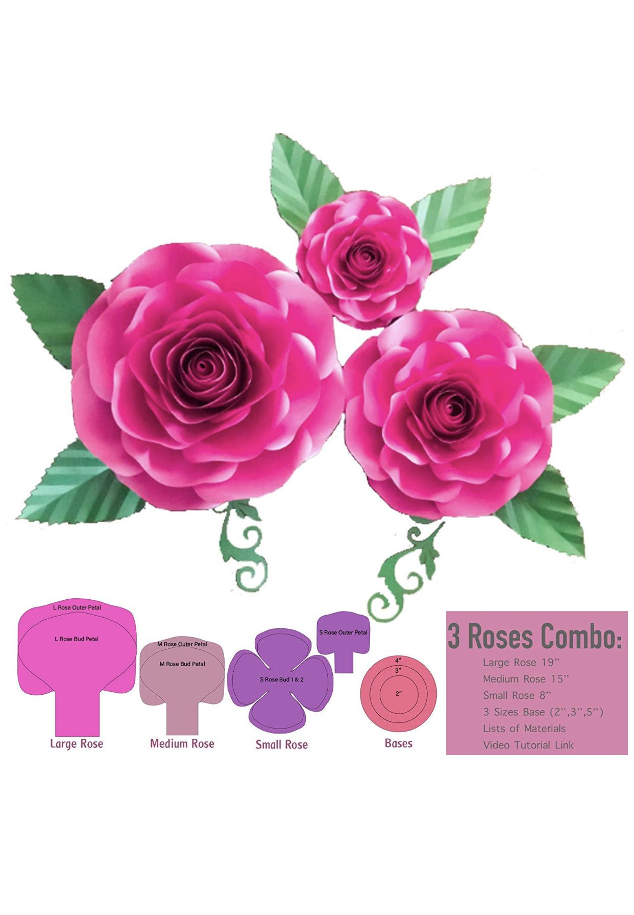 3 Roses Lms Sizes Paper Flower Template Paper Flower Template Handmade Flowers Paper Paper Flowers