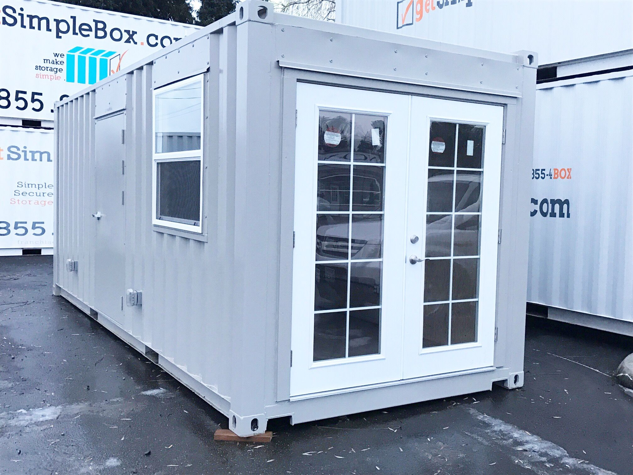 Mod Of The Month Our Container Modification Team Just Converted A 20 Container Into Warm And Function French Doors Interior French Doors Steel Doors Exterior