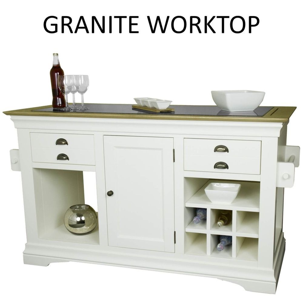 Palais cream painted furniture large granite top kitchen island unit ...
