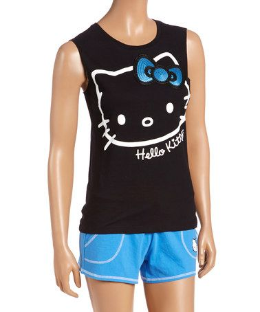 57ffc5c70 Another great find on #zulily! Black & Blue Hello Kitty Pajama Set - Juniors  #zulilyfinds