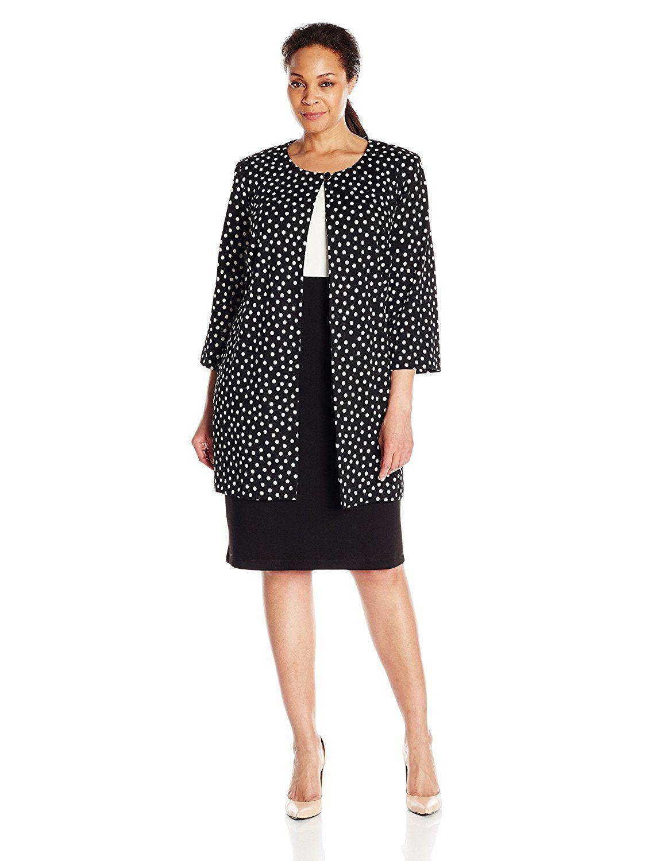 danny and nicole women's plus size two piece long jacket/ dress