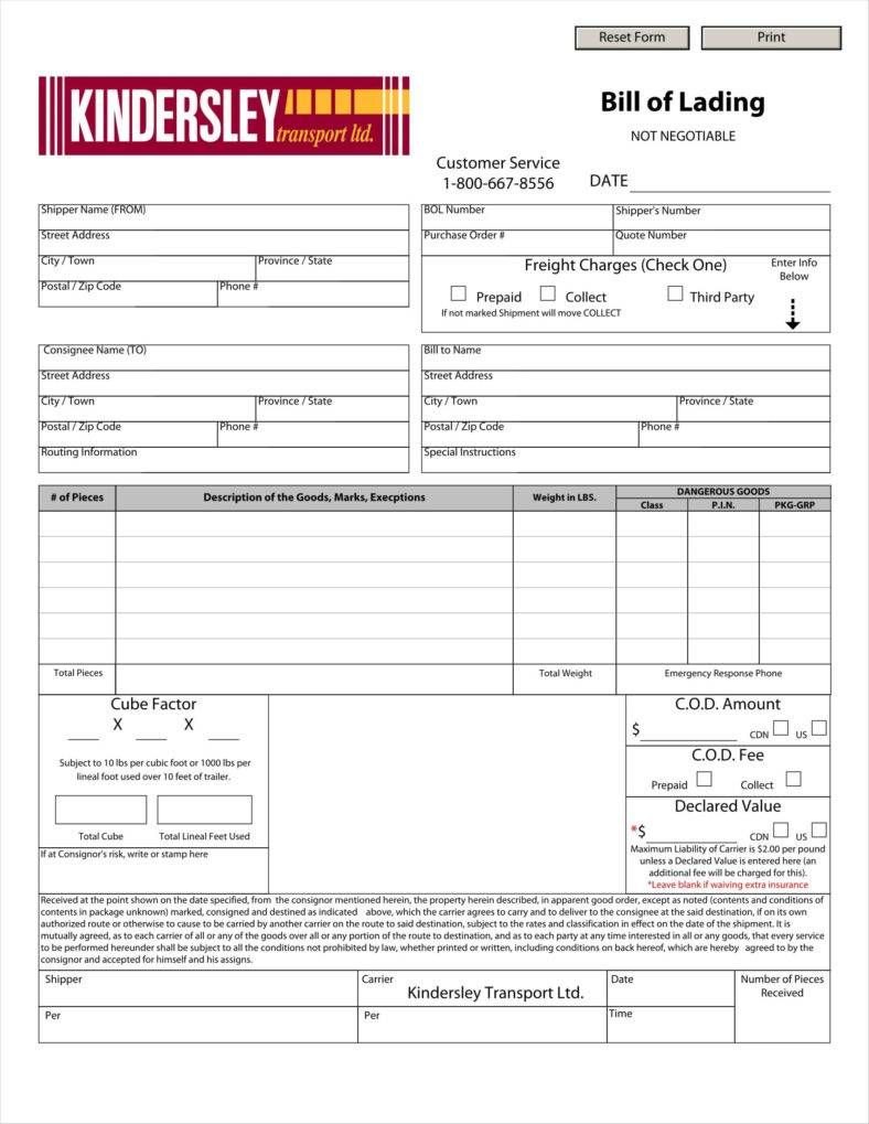 24 Bill Of Lading Templates Templates Printable Free Templates