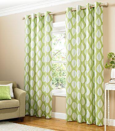 stylish green and white leaf print lined eyelet curtains 66 x 72 bn ebay windows pinterest. Black Bedroom Furniture Sets. Home Design Ideas