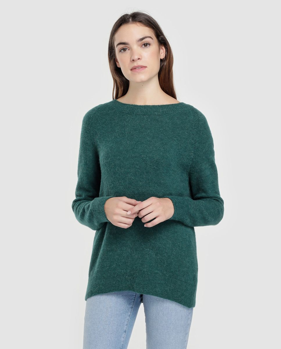 f9ab29f64 Camisola de malha verde de mulher Tommy Hilfiger com decote redondo · Moda  e Acessórios ·