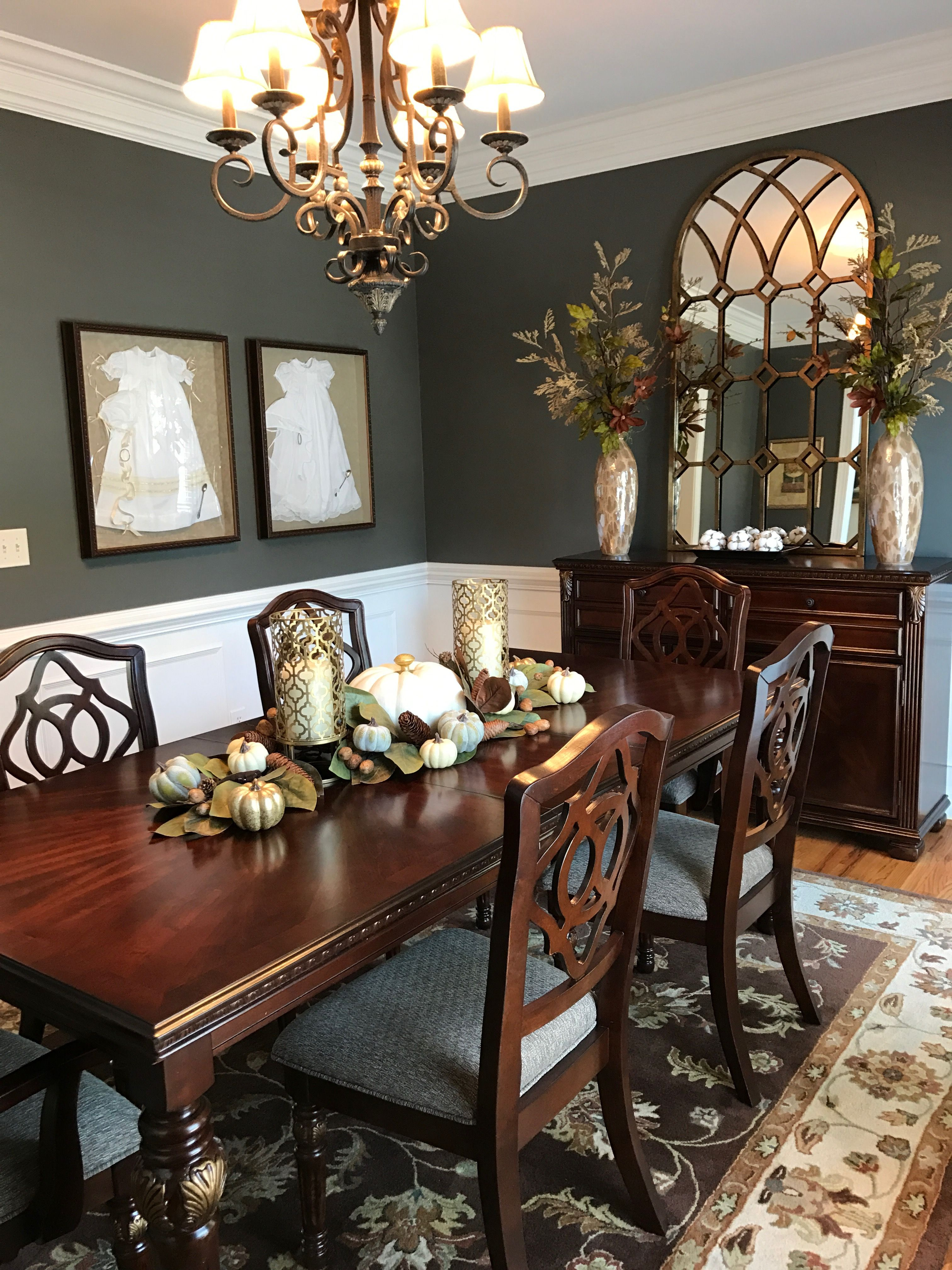 Fall dining room setup and area.   Dining room paint ... on Living Room Wall Sconce Ideas For Dining Area id=51051