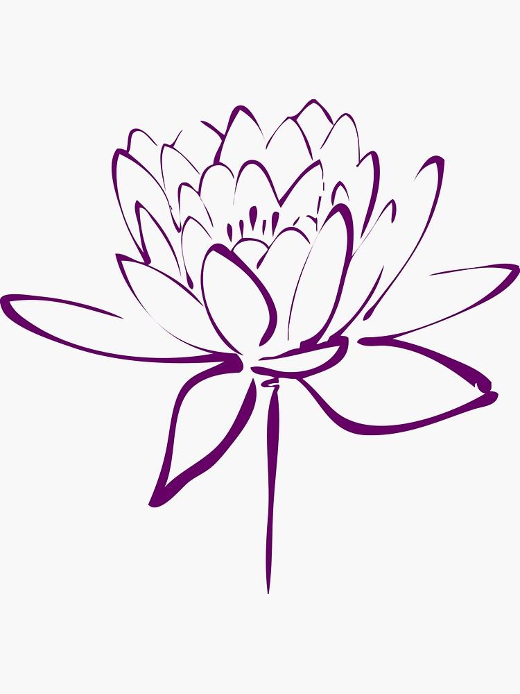'Lotus Flower Calligraphy (Purple)' Sticker by Makanahele