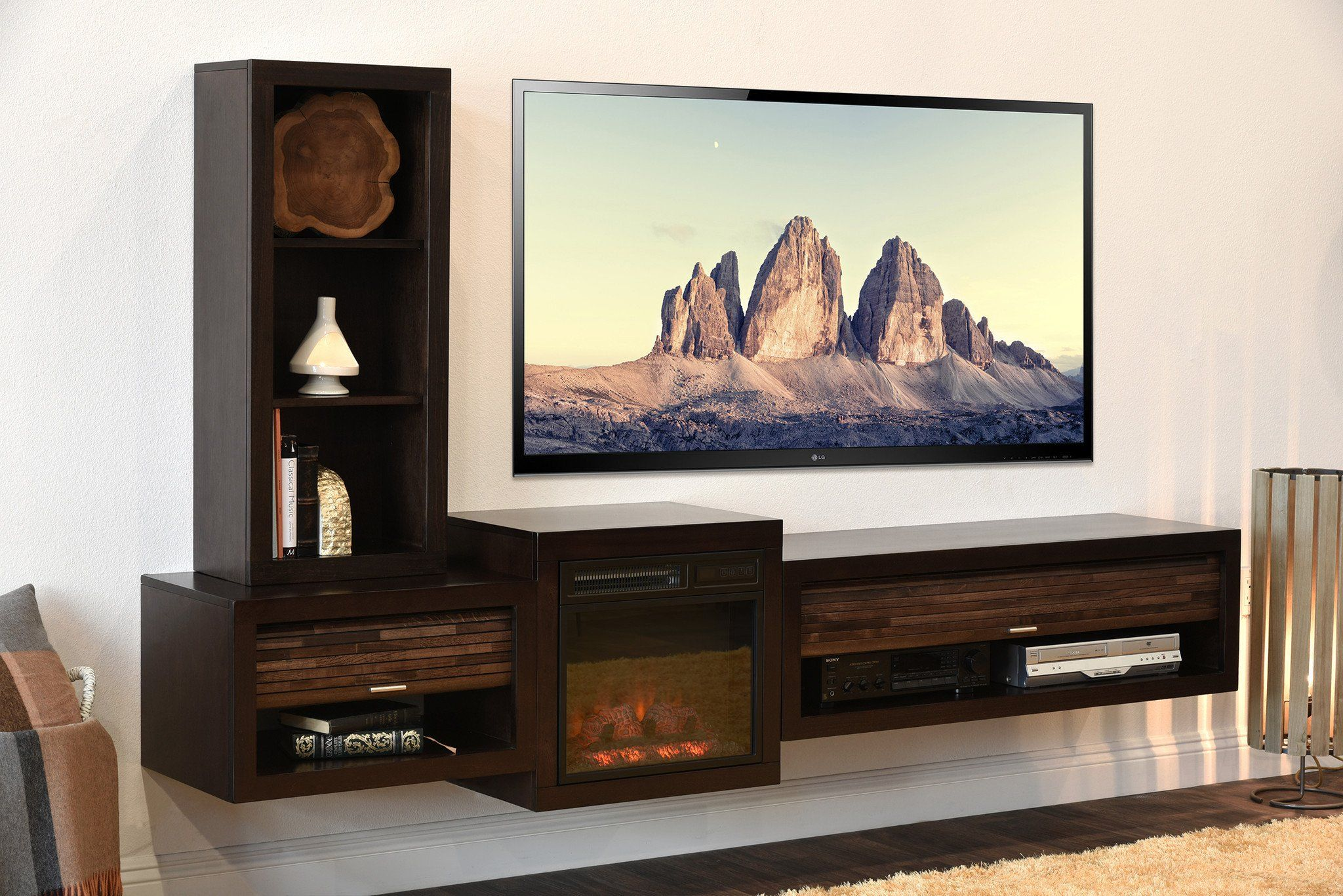 Floating Tv Stand With Fireplace Eco Geo Espresso Fireplace Tv